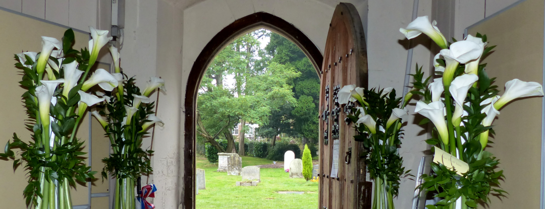 Flowers on the Door at St Lawrence Church in Bovingdon